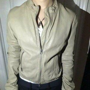BCBG MaxAzria Leather Jacket tan zip up small